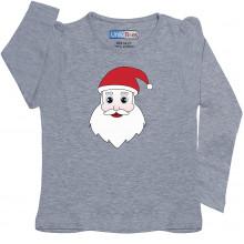 Grey Full Sleeve Girls Pyjama -  Santa