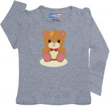 Grey Full Sleeve Girls Pyjama - Teddy