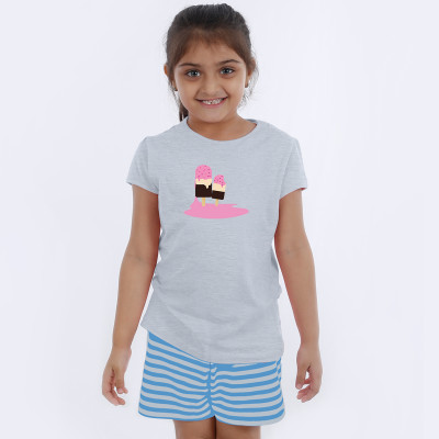 Grey Half Sleeve Girls Pyjama - Ice candy