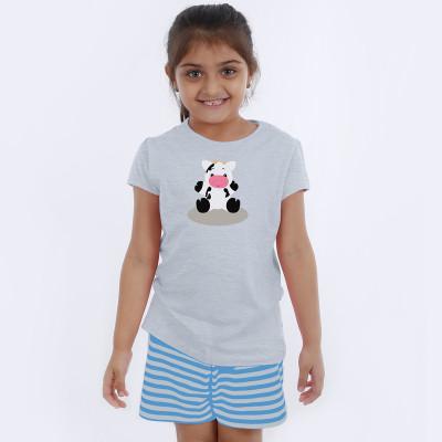 Grey Half Sleeve Girls Pyjama - Baby Moo