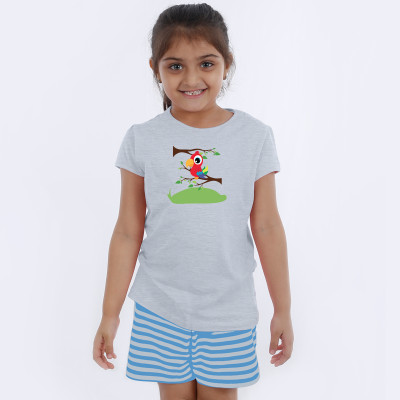 Grey Half Sleeve Girls Pyjama - Red Parrot