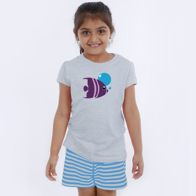 Grey Half Sleeve Girls Pyjama - Fish