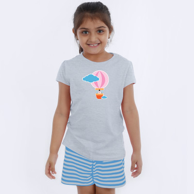 Grey Half Sleeve Girls Pyjama - Hot air ballon
