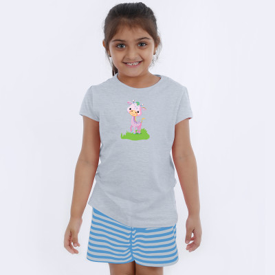 Grey Half Sleeve Girls Pyjama - Cute giraffe