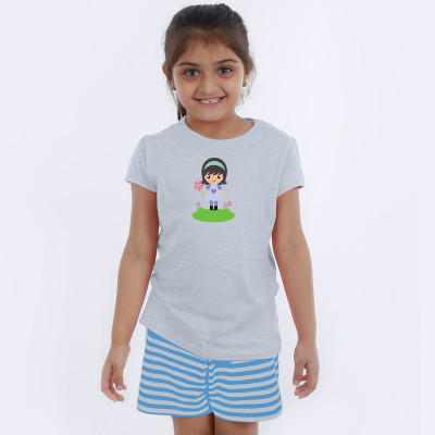Grey Half Sleeve Girls Pyjama- Cute Girl
