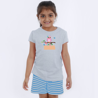 Grey Half Sleeve Girls Pyjama - Owl