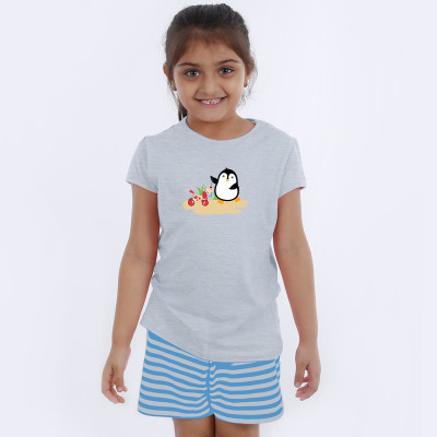 Grey Half Sleeve Girls Pyjama- Penquin