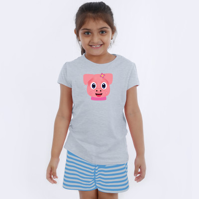 Grey Half Sleeve Girls Pyjama - Browny