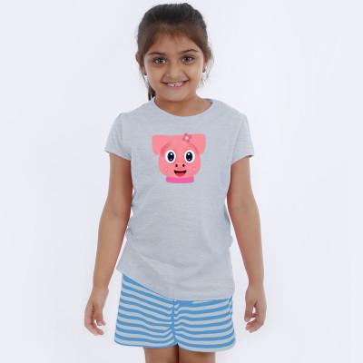 Grey Half Sleeve Girls Pyjama - Browny