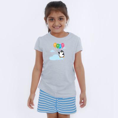 Grey Half Sleeve Girls Pyjama - Baby Ballons