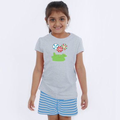 Grey Half Sleeve Girls Pyjama - Candy Stick