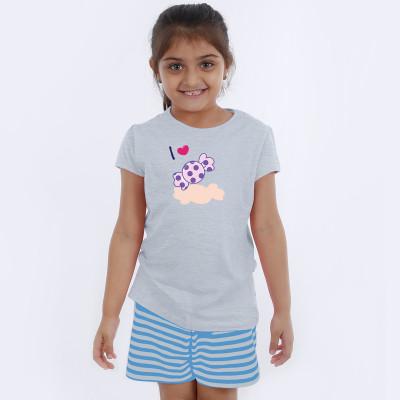 Grey Half Sleeve Girls Pyjama - Chocky