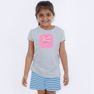 Grey Half Sleeve Girls Pyjama - Quotes