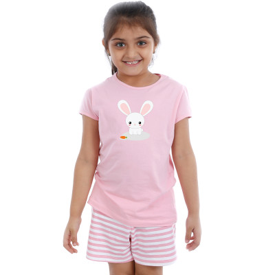 Pink Half sleeve Girls Pyjama- Bunny Rabit