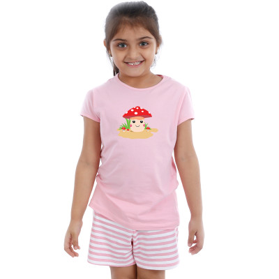 Pink Half sleeve Girls Pyjama - Buttons