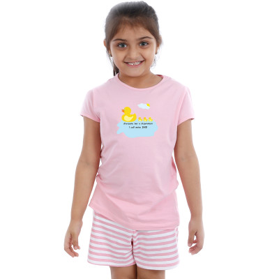 Pink Half sleeve Girls Pyjama- Ducky Dad