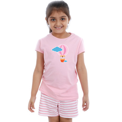 Pink Half sleeve Girls Pyjama - Hot Air Ballon