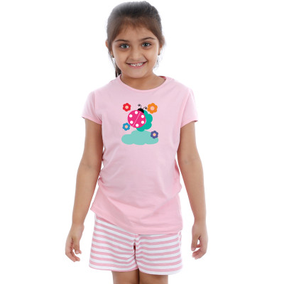Pink Half sleeve Girls Pyjama - Lady Bug