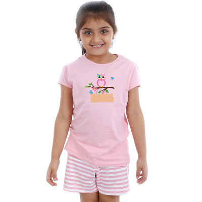 Pink Half sleeve Girls Pyjama - Owl