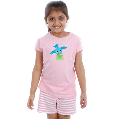 Pink Half sleeve Girls Pyjama - Tweety