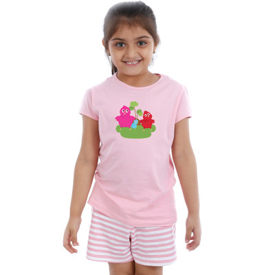 Pink Half sleeve Girls Pyjama - Twitty
