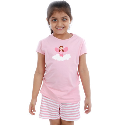 Pink Half sleeve Girls Pyjama - Angel