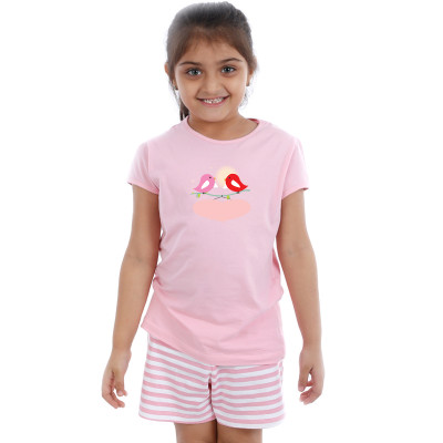 Pink Half sleeve Girls Pyjama - Tweeter