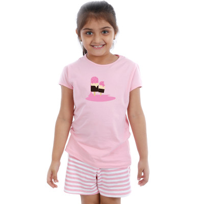 Pink Half sleeve Girls Pyjama - Ice Candy