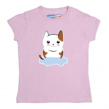 Pink Half sleeve Girls Pyjama- Kitty
