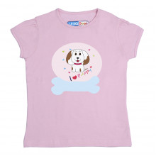 Pink Half sleeve Girls Pyjama - Puppy