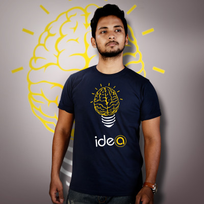 Men Round Neck Blue T-Shirt - Brain Fused