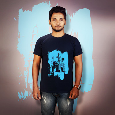 Men Round Neck Blue T-Shirt- Charminar