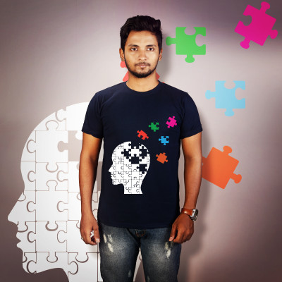 Men Round Neck Blue T-Shirt- Jigsaw