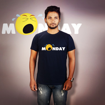 Men Round Neck Blue T-Shirt - Monday