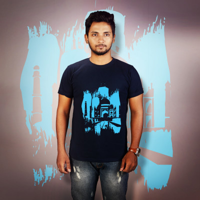 Men Round Neck Blue T-Shirt- Taj Mahal