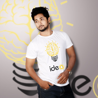 Men Round Neck White T-Shirt- Brain Fuse