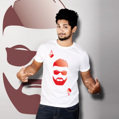 Men Round Neck White T-Shirt- Beard Heart