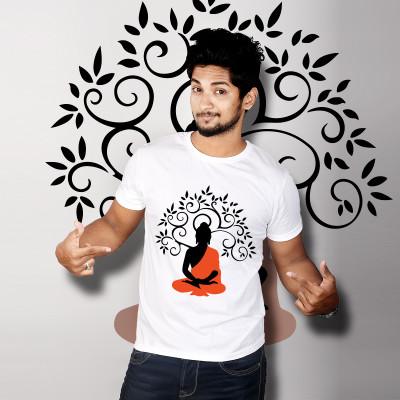 Men Round Neck White T-Shirt- Buddha