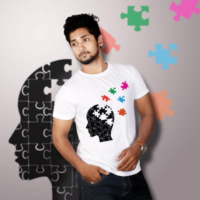 Men Round Neck White T-Shirt- Jigsaw