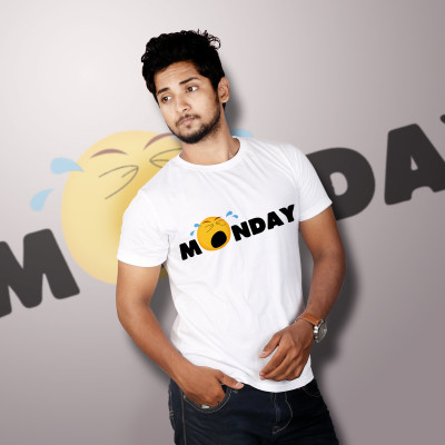 Men Round Neck White T-Shirt- Monday