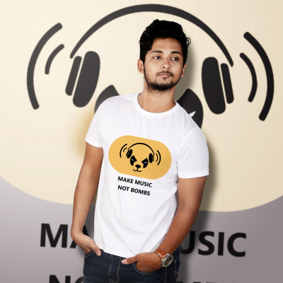 Men Round Neck White T-Shirt- Make Music Not Bombs