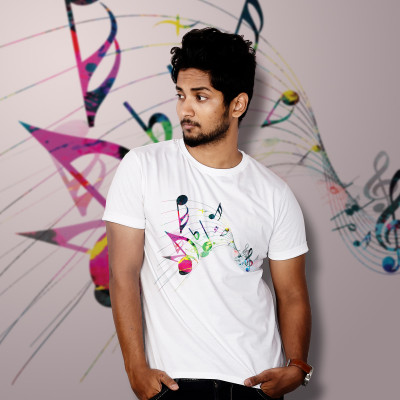 Men Round Neck White T-Shirt- Music