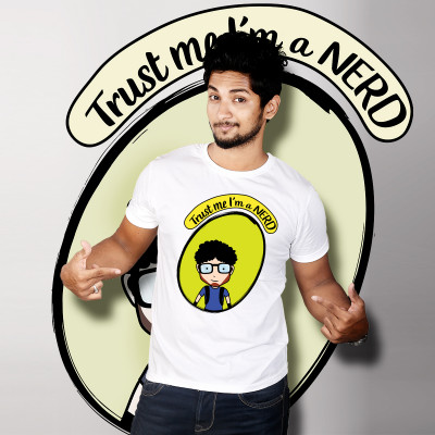 Men Round Neck White T-Shirt- Nerdy