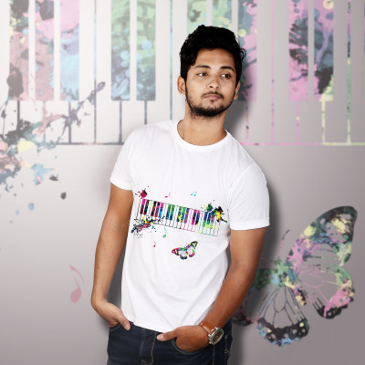 Men Round Neck White T-Shirt- Piano