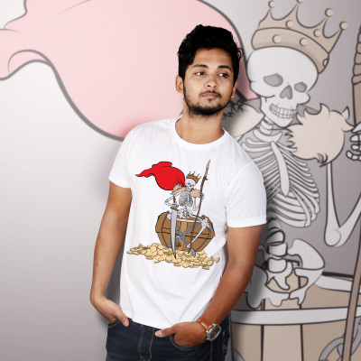 Men Round Neck White T-Shirt- Skeleton King