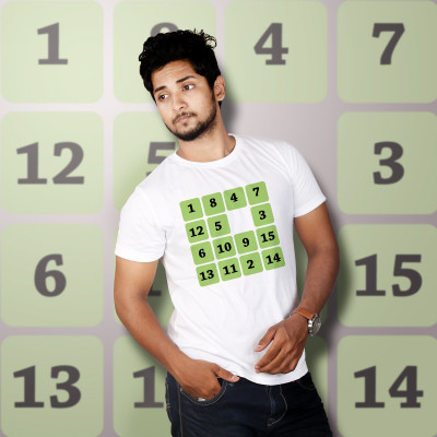 Men Round Neck White T-Shirt- Sudoku