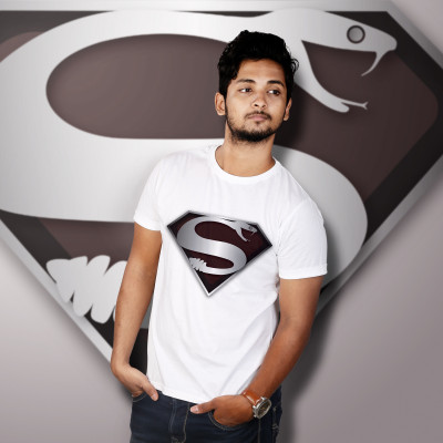 Men Round Neck White T-Shirt- Superman