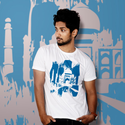 Men Round Neck White T-Shirt- Taj Mahal