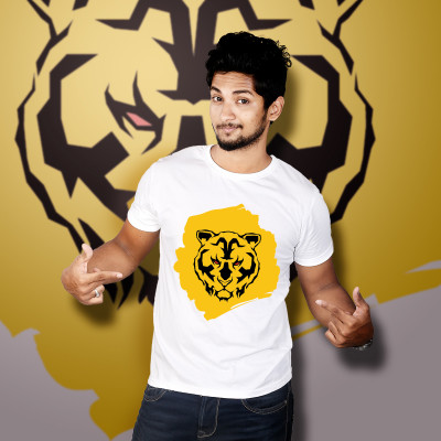 Men Round Neck White T-Shirt- Tiger