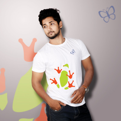 Men Round Neck White T-Shirt- Toad